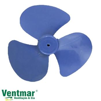 Hélice para Ventilador FAET Cano Curto 30cm 3Pás Azul - Eixo 8,0mm Ponta Meia Lua - HELVOFAET HEL30