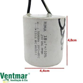 Capacitor de Partida Ventilador de Teto 2fios 18,0uF 250VAC
