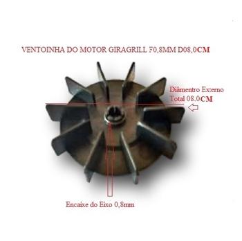 Hélice Ventoinha Motor Churrasqueira Giragrill - Furo do Eixo 0,8 mm - Diâmetro Externo 8,0cm