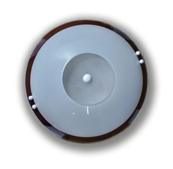 Luminária para Ventilador de Teto - Modelo Bruxelas Plafon Branco Vidro Redondo Borda Tabaco