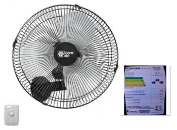 Ventilador de Parede 40cm Loren Sid 220v 135w - Chave com Controle de Velocidade - Turbo Flex Preto Grade Metal