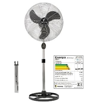 Ventilador de Coluna 50cm Ventisilva VENTI50CC Biv 137/135W Preto Hélice 3Pás Grades/Colunas Metal Pintura Epóxi Cromada - Chave c/Controle de Velocid