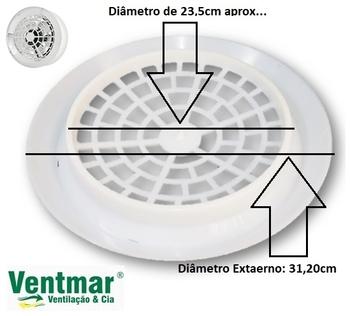 Grade do Exaustor LOREN SID 25cm - Grade Plástica Branca - Vendida p/Unidade - GRADELSD