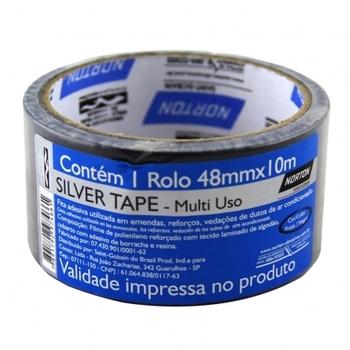 Fita Silver Tape Adelbras Prata Multiuso 48mm x 10 Metros - Fita adesiva Silver Tape 48mmx10mt