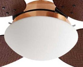 Luminária para Ventilador de Teto Volare - Modelo Londres Plafon Cobre Vidro Fosco Curvo - Lustre Ve