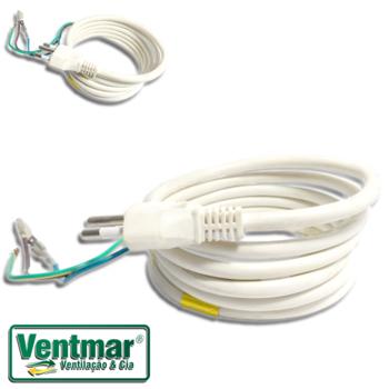 Chicote Elétrico Rabicho para Ar Condicionado Portátil - Cabo com Plug Macho de 3 Pinos - Plug 6A p/até 250V/Cabo p/até 500V