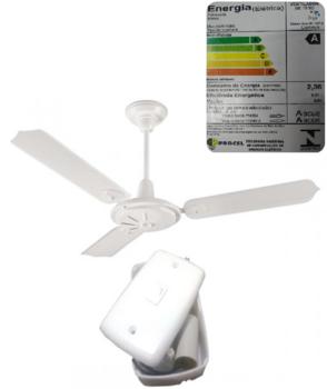 Ventilador de Teto Loren Sid Comercial M2 RV 127V10,0uF Branco 3 Pás Metal Brancas - c/Chave de Reversão
