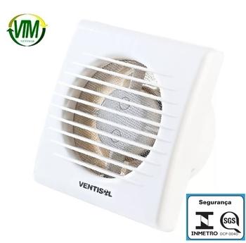 Exaustor de 10cm para Banheiro e Ambientes até 06m2 - Ventisol EXB100 100mm 127v - Vazão 75m3h (SGS OSC- 0040)
