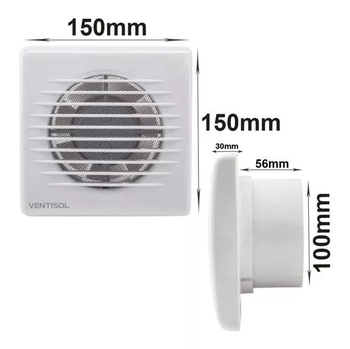 Exaustor para Banheiro e Ambientes até 06m2 - Diâmetro 10cm Ventisol EXB100 127V10W MX Premium Vazão 75m3h - Microventilador Exaustor 100mm