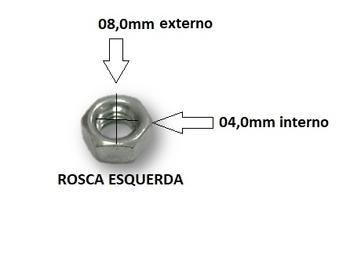 Porca da Ponta do Eixo Hélice Ventilador ARNO - Porca Rosca Esquerda M5x08 Diâmetro Externo 08,0mm