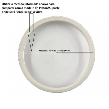 Globo Cúpula de Vidro Fosco RETO Modelo Londres - Encaixe 245mm/230mm Interno - para Ventiladores Treviso Atenas - Tron Aventador - Tron Solano - Lore