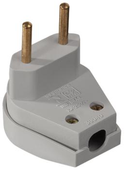 Pino Elétrico - Plug Macho Triangular 2 pinos Cinza 10A 250V 90°Graus