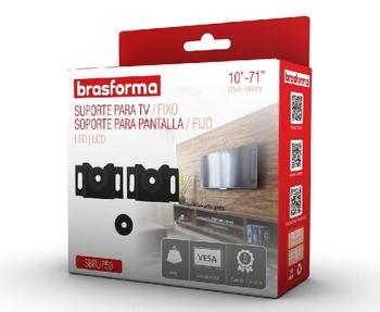 Suporte para TV de 10 a 71 Polegadas - TV Plasma LCD LED OLed 3D Smart e 4K QLED - Brasforma Linha Pratica SBRU750 Suporte Fixo