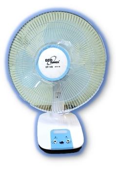 Ventilador de Mesa Recarregável Oscilante Bivolts 30cm Eco Power Azul - EP-109 c/Luz LED - Ventilado a Bateria