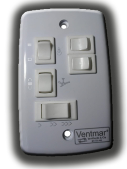 Chave Ventilador de Teto Aliseu TERRAL 3V 3 Teclas p/Lâmpadas 127v 07,0uF (2,5+4,5) - Controle de Pa