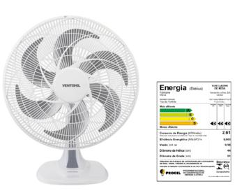 Ventilador de Mesa 50cm Ventisol Turbo 6Pás 127v 80w Branco Helice 6Pas Cinza - Controle de Velocidade - Ventilador se Adapta p/Parede