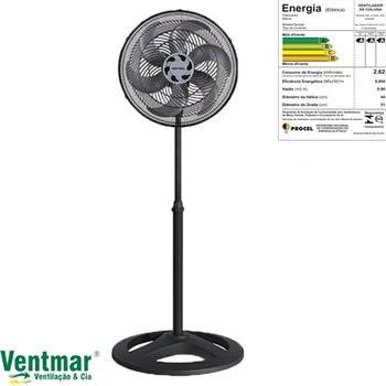 Ventilador De Coluna 50cm 127v06uF 135w Ventisol Turbo 6Pas Premium - Preto Hélice 6Pas Cinza Eixo 8,0mm