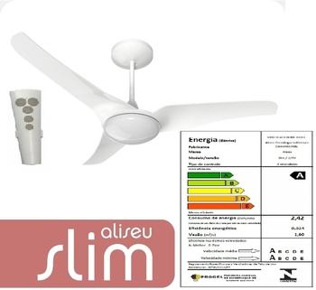 Ventilador de Teto Aliseu SLIM 127v 06,0uF Branco - Luminária LED12W 4500k - c/Controle Remoto Cap.1