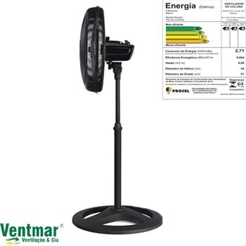 Ventilador De Coluna 50cm 220v02uF 135w Ventisol Turbo 6Pas Premium - Preto Hélice 6Pas Cinza Eixo 8,0mm
