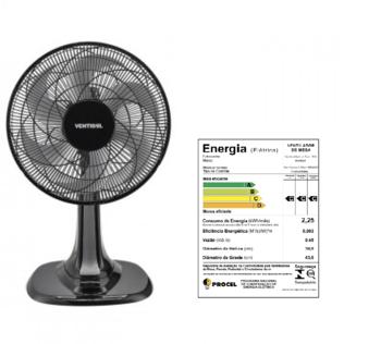 Ventilador de Mesa 40cm Ventisol Turbo 6Pás 220v 80w Preto Helice 6Pas Cinza - Controle de Velocidade - Ventilador se Adapta p/Parede