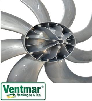 Hélice para Ventilador Dômina 60cm 8Pás Eixo 11,5mm - Dômina Octupus Titânio/Cinza - Diâmetro 53,0cm
