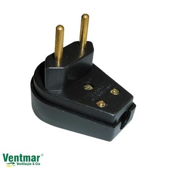 Pino Elétrico - Plug Macho Triangular 2 pinos Preto 10A 250V