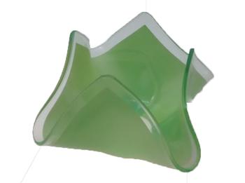 Globo Cupula Tulipa de Vidro Modelo Lenço Verde - Tulipa Lenço Pétala de vidro para lustres - Encaixe 0,00cm Externo