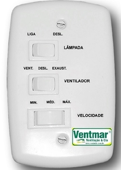Chave para Ventilador de Teto 3Velocidades 127v10,0uF - Chave Original para Ventilador Venti-Delta - Ventilador Lunik Efyx - Espelho 4x2