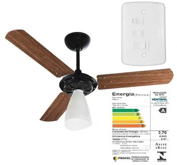Ventilador De Teto Ventisol Wind Light Premium 127v Preto 3Pás Madeira cor Mogno - Chave 3Velocidade