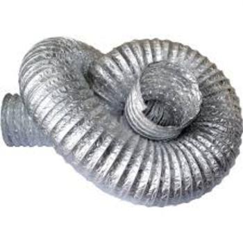 Duto Flexível de Alumínio 20cm para Exaustores - Tubo Flexível 200mm 08 Aludec 6008 p/Até 140c° - Vendido p/Metro