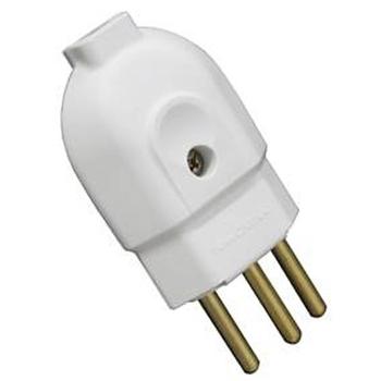Pino Elétrico Plug Macho 10 Amperes Tipo Extensão Branco -2PNBR
