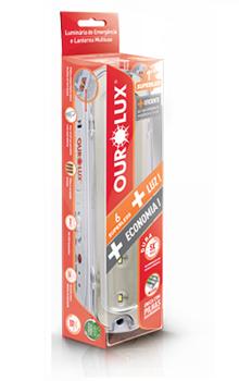 Luminária de Emergência Bivolt C/6 Superleds 1w Bivolt Branco Ourolux