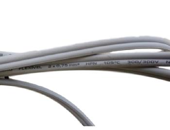 Cabo Chicote Elétrico Cordão para Ferro de Passar - Rabicho c/2 Fios 0,75mm Paralelos c/1,80MT + Plug Macho