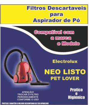 Saco para Aspirador de Pó Electrolux - Modelos NEO LISTO PET LOVER - Saco Descartavel - Kit c/3Unida