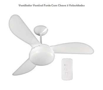 Ventilador de Teto Ventisol Fenix Branco 3 Pás Injetadas Brancas Chave 3 Vel - 127v Premium 130w - Consumo A