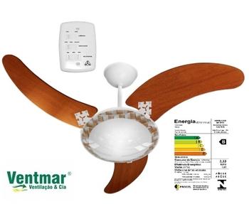 Ventilador De Teto Venti-Delta Ventus 127v Branco 3Pás Facão MDF cor Mogno Chave 3Velocidades