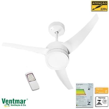 Ventilador de Teto Venti-Delta Lunik 220V130W Branco 3Pás c/Luminária LED18W6500k Controle Remoto Total - Ventilador Lunik Silencioso