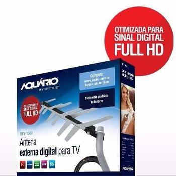Antena Externa para TV Sinal Digital - 2 em 1 DTV-1500 - Aquário - com CABO 10 metros
