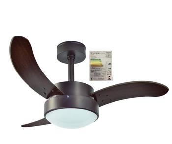 Ventilador de Teto RioPreLustres Evolution 1052 LED 127v 120w Marrom Texturizado 3 Pás MDF Facão Tab