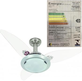 Ventilador de Teto RioPreLustres Noble 1049 Cromado c/3 Pás PL Folha Cristal Transparentes 127v VTRP