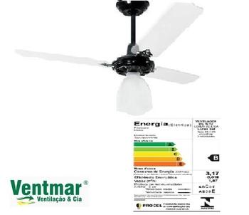 Ventilador de Teto Loren Sid Preto M3 220V - Globo Lumi Plástico - 3 Pás Retas Acrílicas - Chave 3 Velocidades