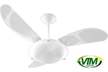Ventilador de Teto Venti-Delta New Angra 127v130w Branco 3Pás ABS Brancas Luminária p/2-Lâmpadas Chave 3Velocidades