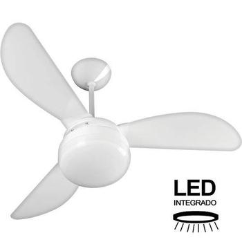 Ventilador de Teto Ventisol Fenix 127v 130w Branco 3Pás Tuba Brancas - Luminária LED20W Chave 3Velocidades - Ventilador Fenix Led