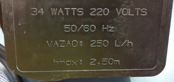 Bomba de Agua para Climatizador JOAPE Reservatório 220v Vazao 0250LH 34/35W Hmax. 2,50mt - Joape 767, FORTALEZA, GUARUJA, COPACABANA, CASSINO e JURERE