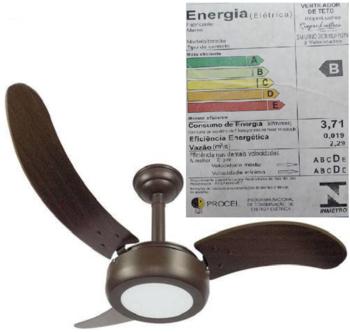 Ventilador de Teto RioPrelustres Lux Led 18W 2008 127v 3Pas MDF Facao Tabaco - Marrom Texturizado 127V Chave 3Velocidades