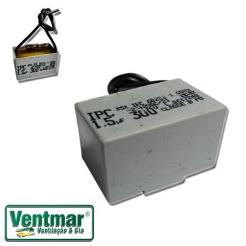 Capacitor de 1,5 com 2 Fios - 300 Vac Box Fanaway - Motor de 220 V CAP001,5