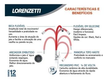 Torneira Lorenzetti Multiuso de Mesa Bica Flexível LorenFlex Red-Vermelha 1177 R27 Lorenzetti