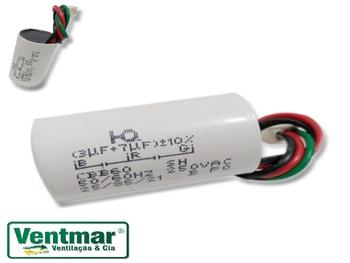 Capacitor para Ventilador Venti-Delta Lunik 110Volts - Capacitor de 3Fios 10,0uF (3+7) 250Vac - Capa