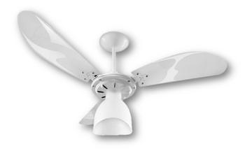 Ventilador de Teto Loren Sid Lumi M3 127v Branco Pás Brancas - 3Pás Brancas Tuba - Chave de 3 Veloci