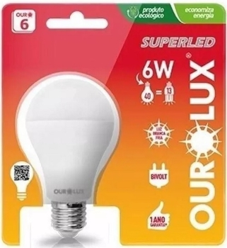 Lâmpada LED Bulbo Super Led Ourolux 6w 2700k Amarela